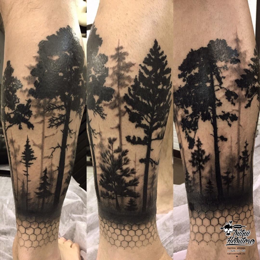 Тату лес на ноге фото